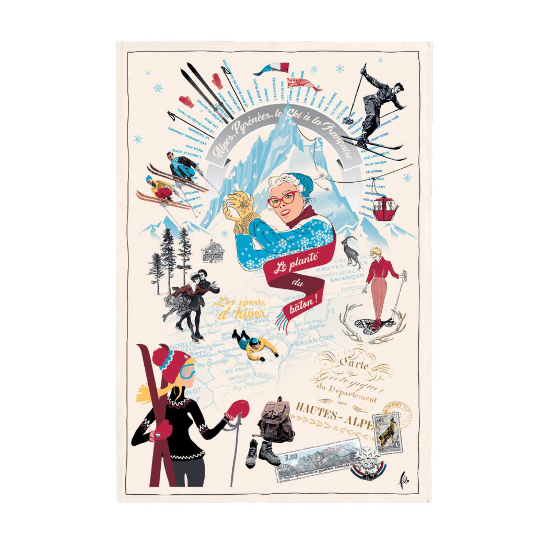 Torchon imprimé Les sports d'hiver Ecru 48 x 72