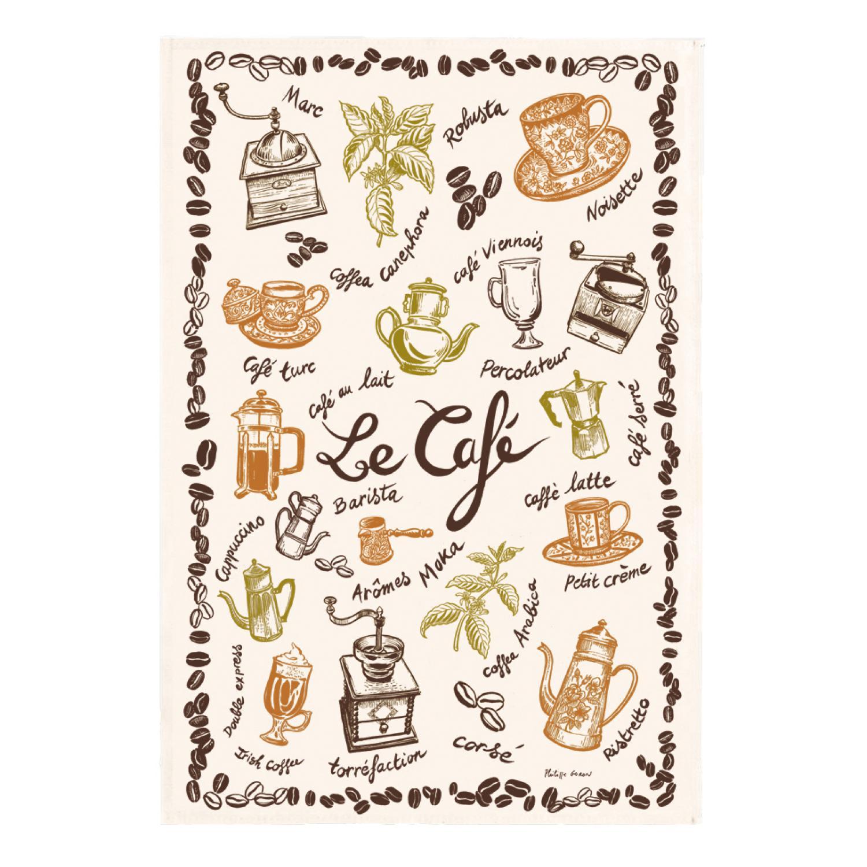 Torchon Imprimé Le café Ecru 48 x 72