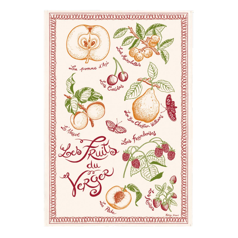 Torchon Imprimé Les fruits du verger Ecru 48 x 72