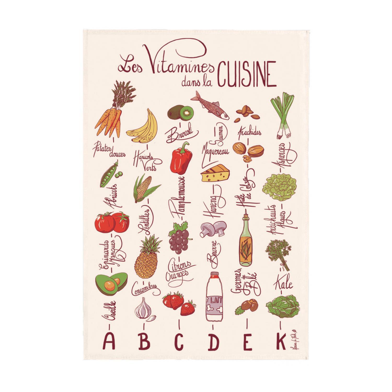 Torchon imprimé Les vitamines Ecru 48 x 72