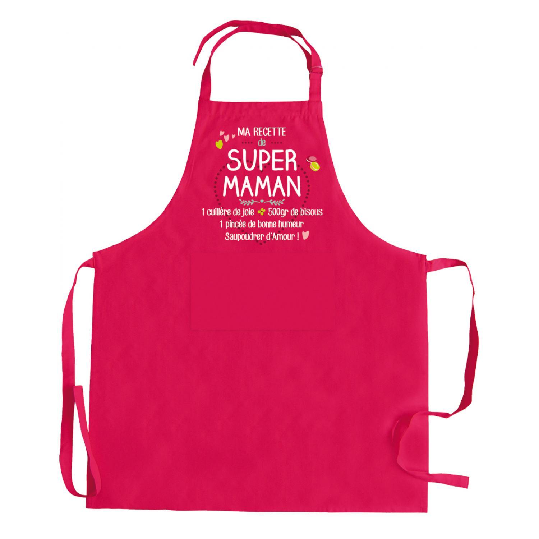 Tablier Ma recette de super maman Rose 90 x 72