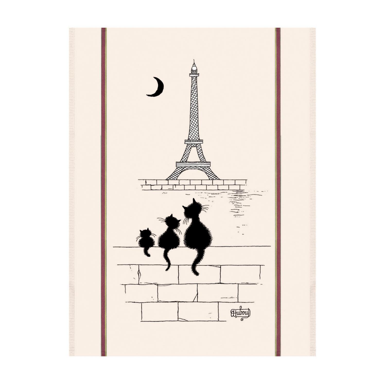 Grand Torchon Dubout Chats Tour Eiffel Ecru