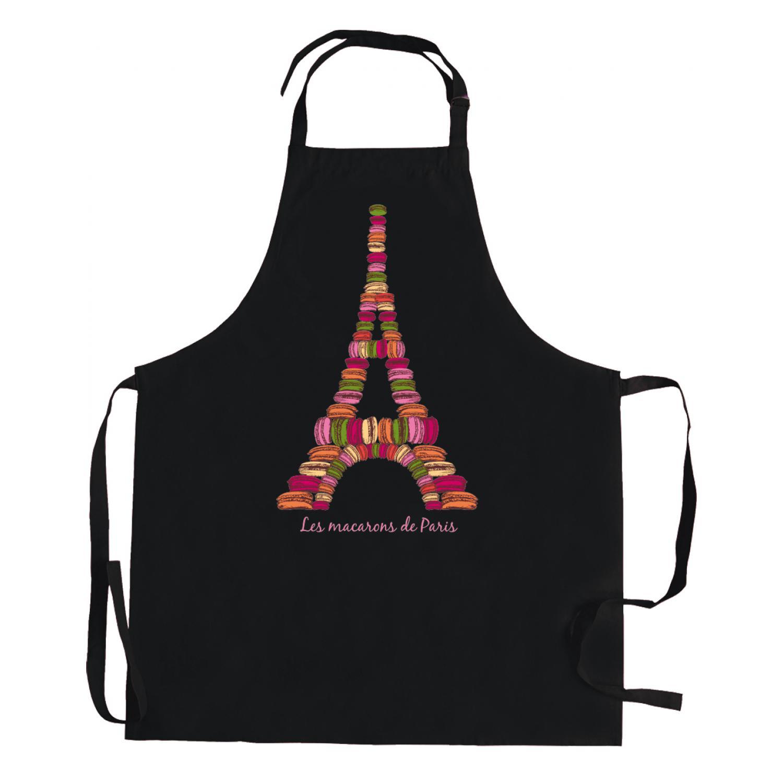 Tablier Macarons de Paris Noir