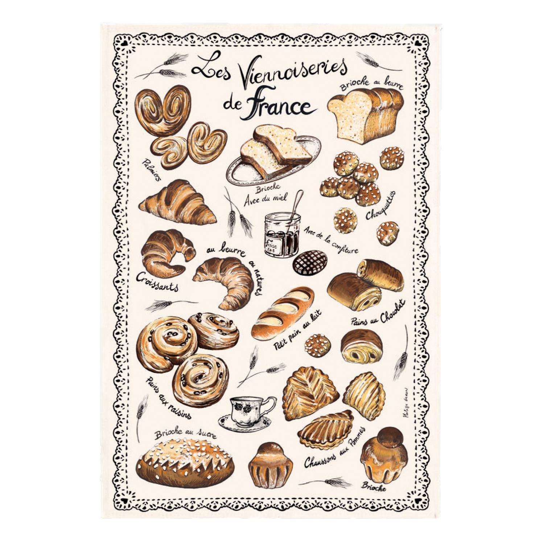 Torchon Les Viennoiseries Françaises Ecru 48 X 72