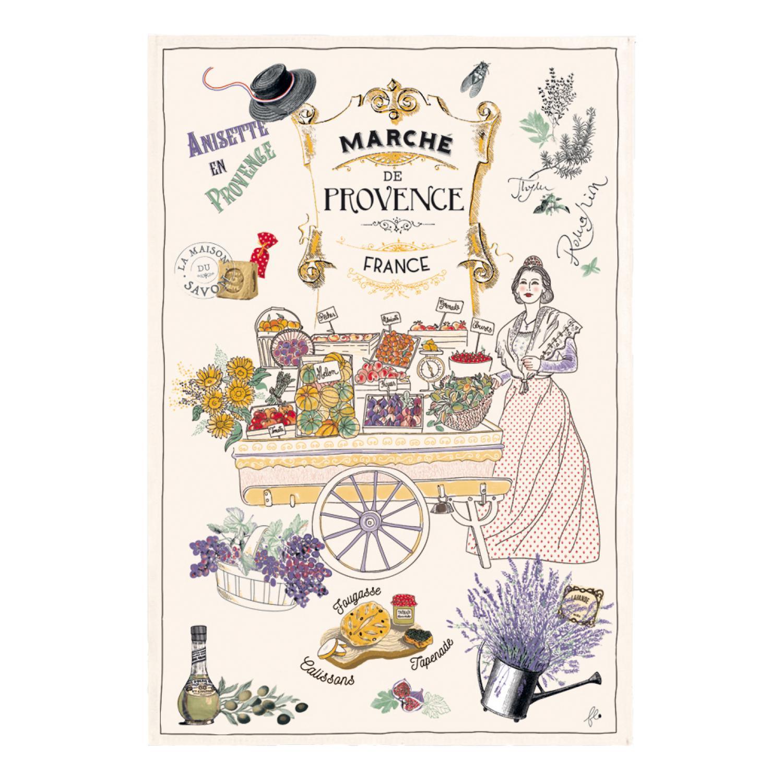 Torchon Les marchés de Provence Ecru 48 x 72