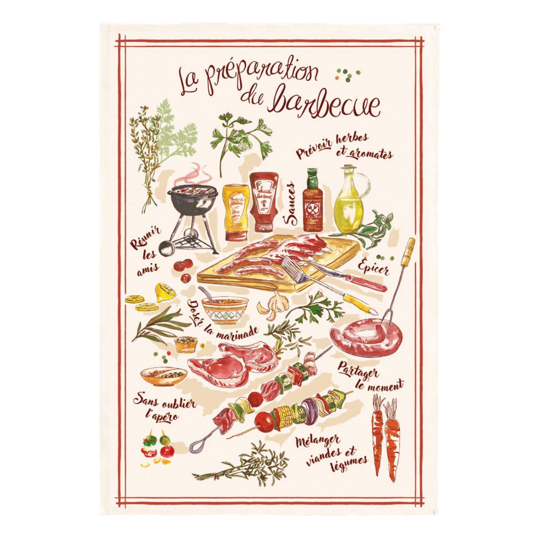 Torchon Le barbecue Ecru 48 x 72