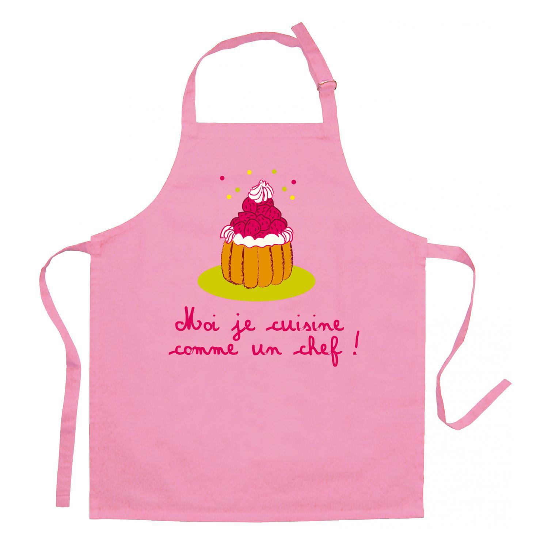 Tablier Enfant Je Cuisine Comme Un Chef Rose
