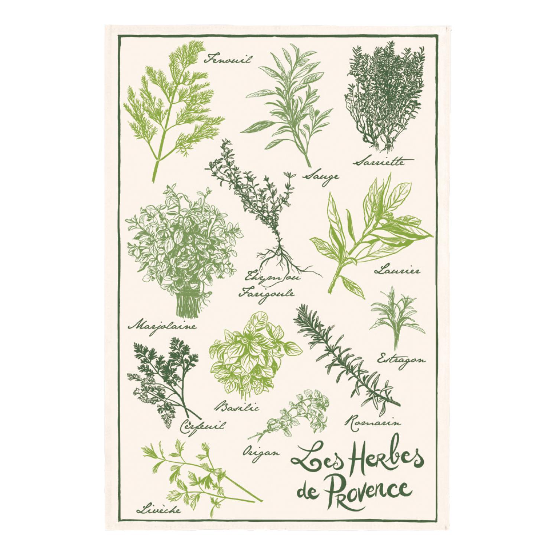 Torchon Imprimé Les herbes de provence Écru 48 x 72
