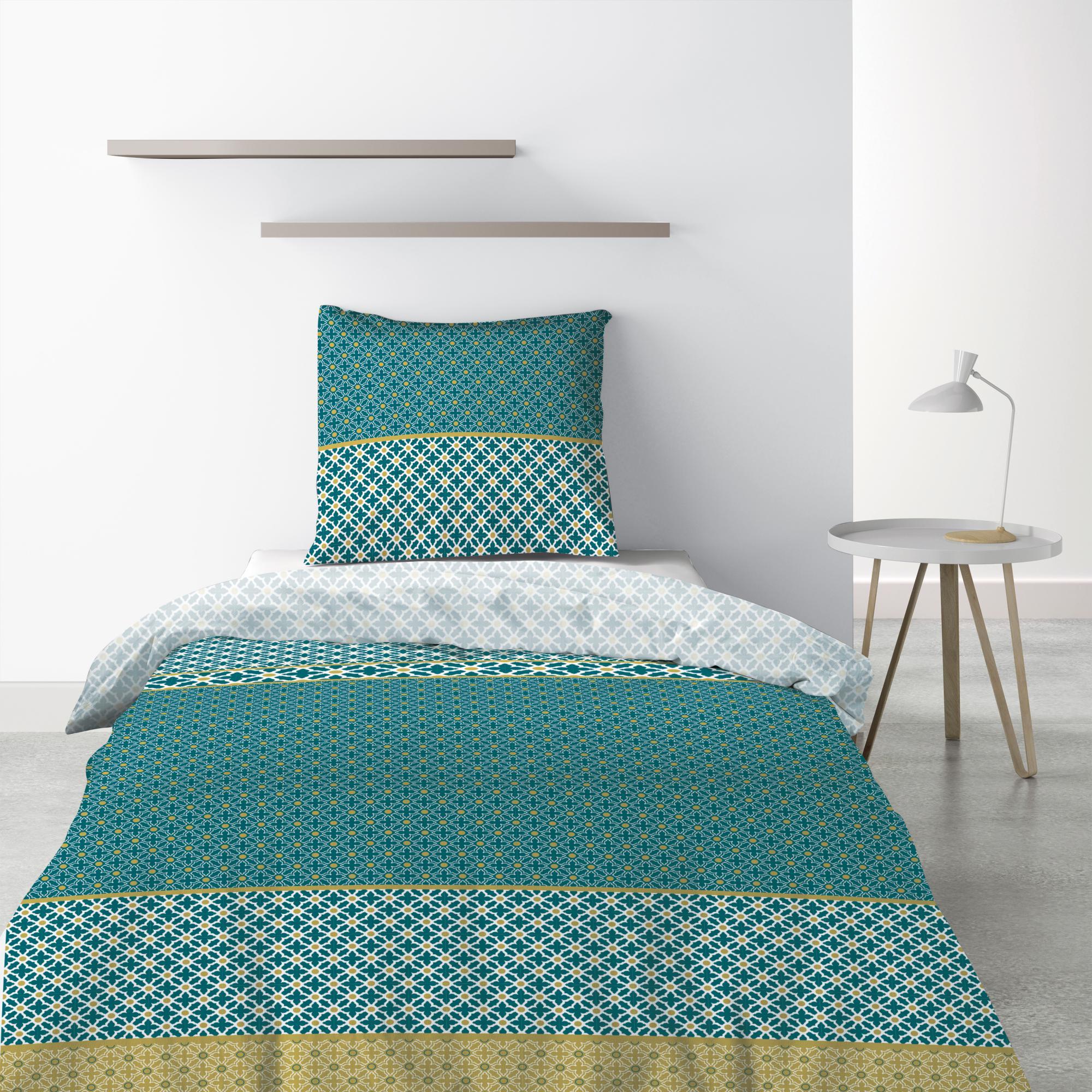 Parure de lit 1 personne Paon avec drap plat et taie d'oreiller Imprimé 180 x 290