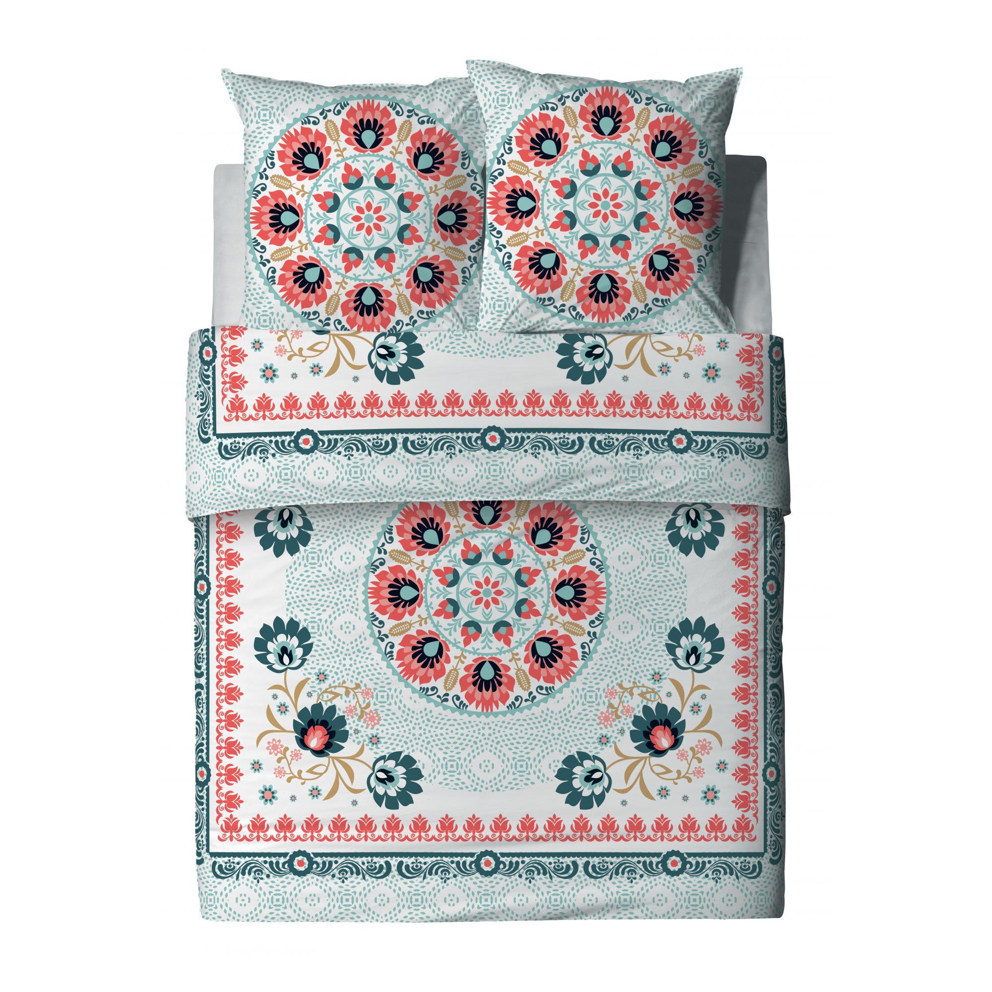 Parure de lit 2 personnes Camélia avec housse de couette et taies d'oreiller Imprimé 260 x 240