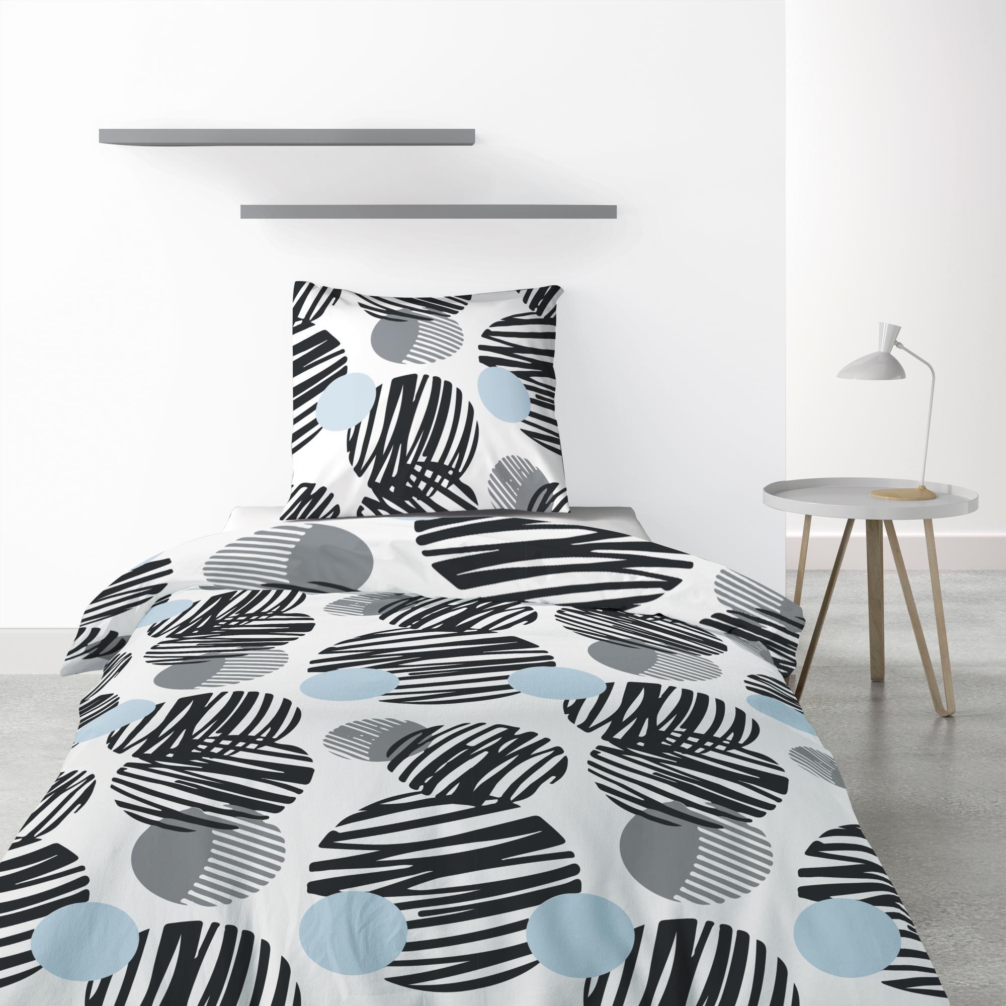 Parure de lit 1 personne Cerclus avec housse de couette et taie d'oreiller Imprimé 140 x 200