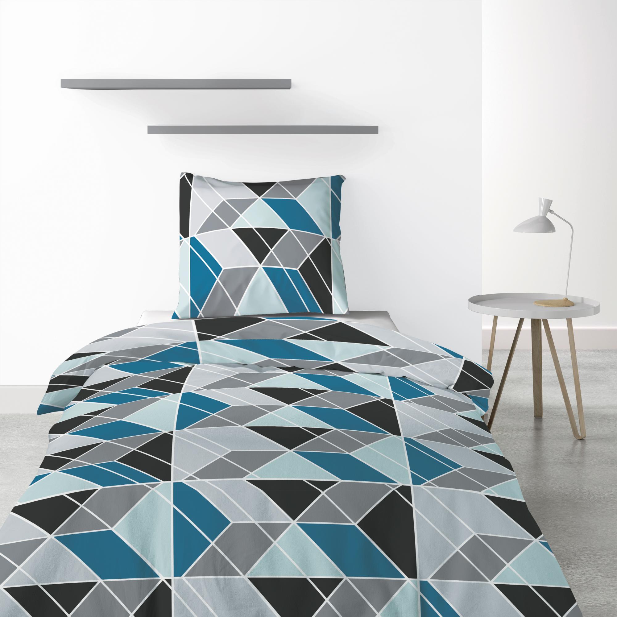 Parure de lit 1 personne Blutry avec housse de couette et taie d'oreiller Imprimé 140 x 200