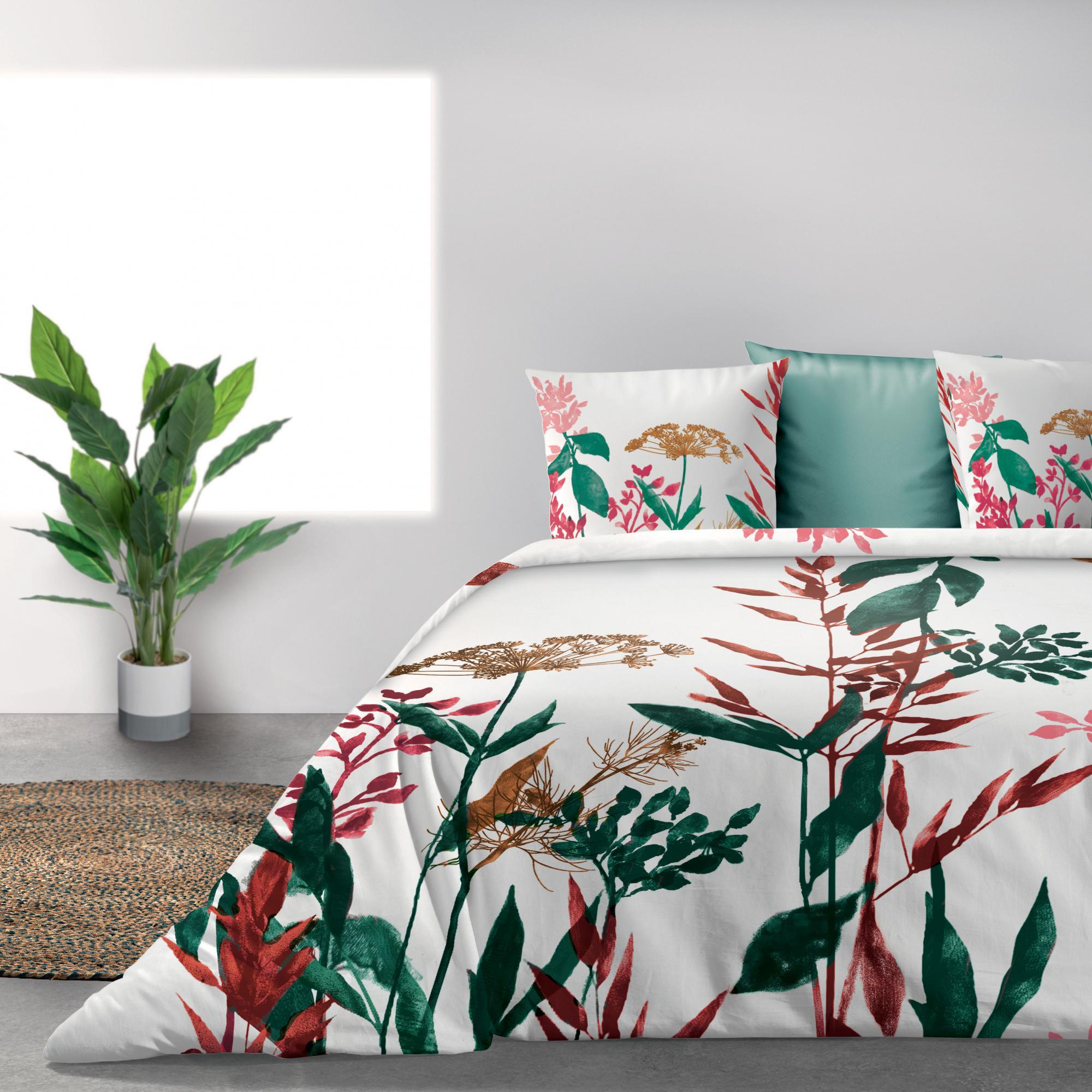 Parure de lit Bio 2 personnes Herbier avec housse de couette et taies d'oreiller Imprimé 240 x 220