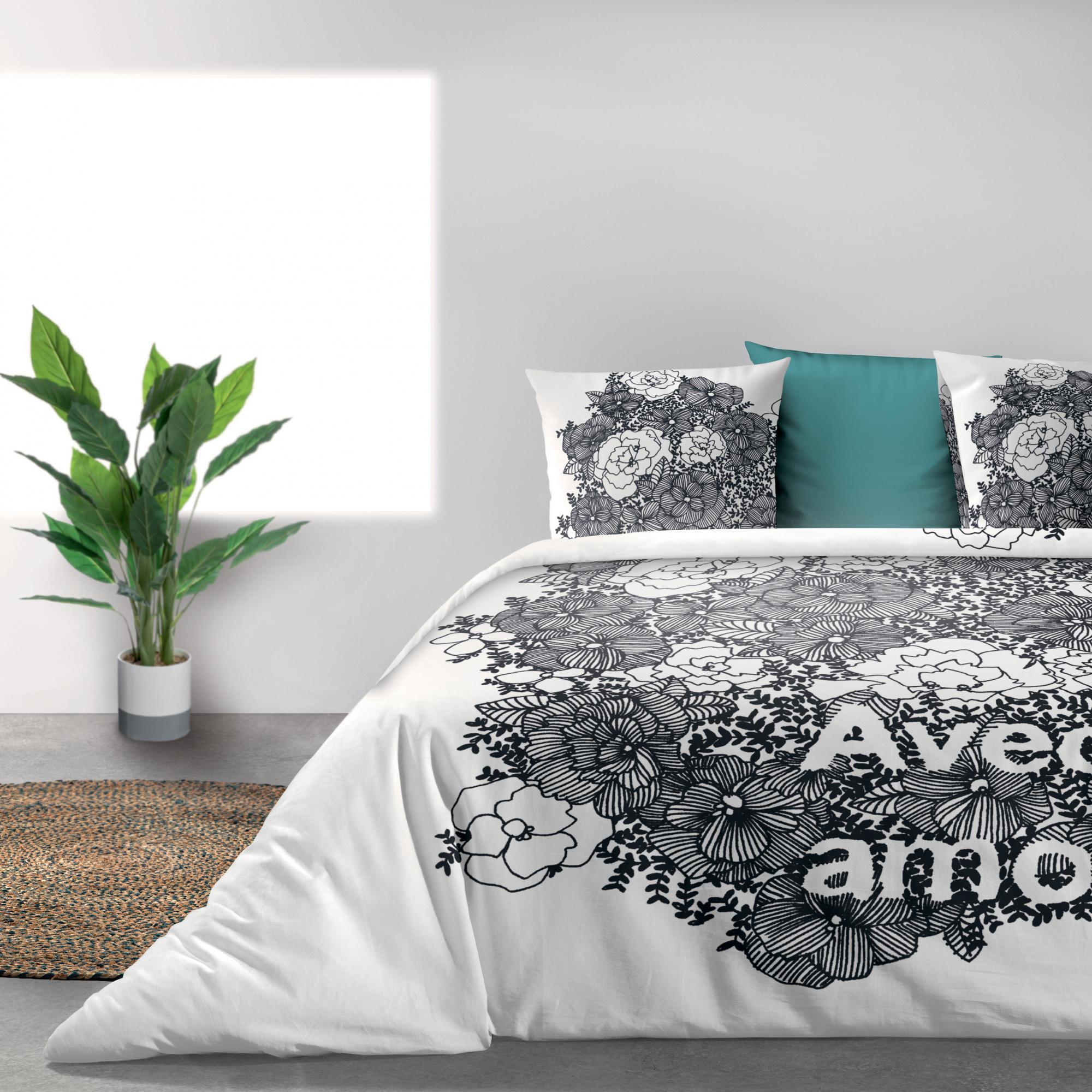 Parure de lit Bio 2 personnes Avec amour avec housse de couette et taies d'oreiller Imprimé 240 x 220
