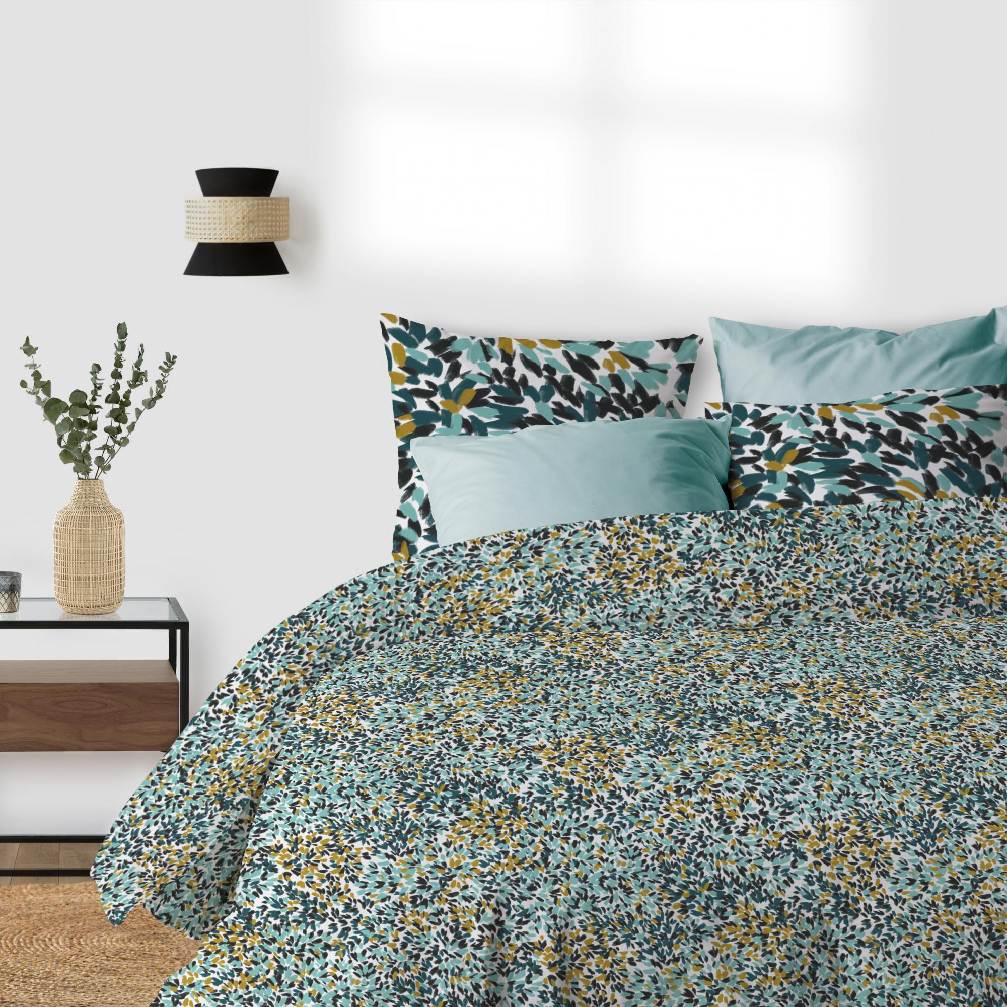Parure de lit Bio 2 personnes Telma avec housse de couette et taies d'oreiller Imprimé 240 x 220