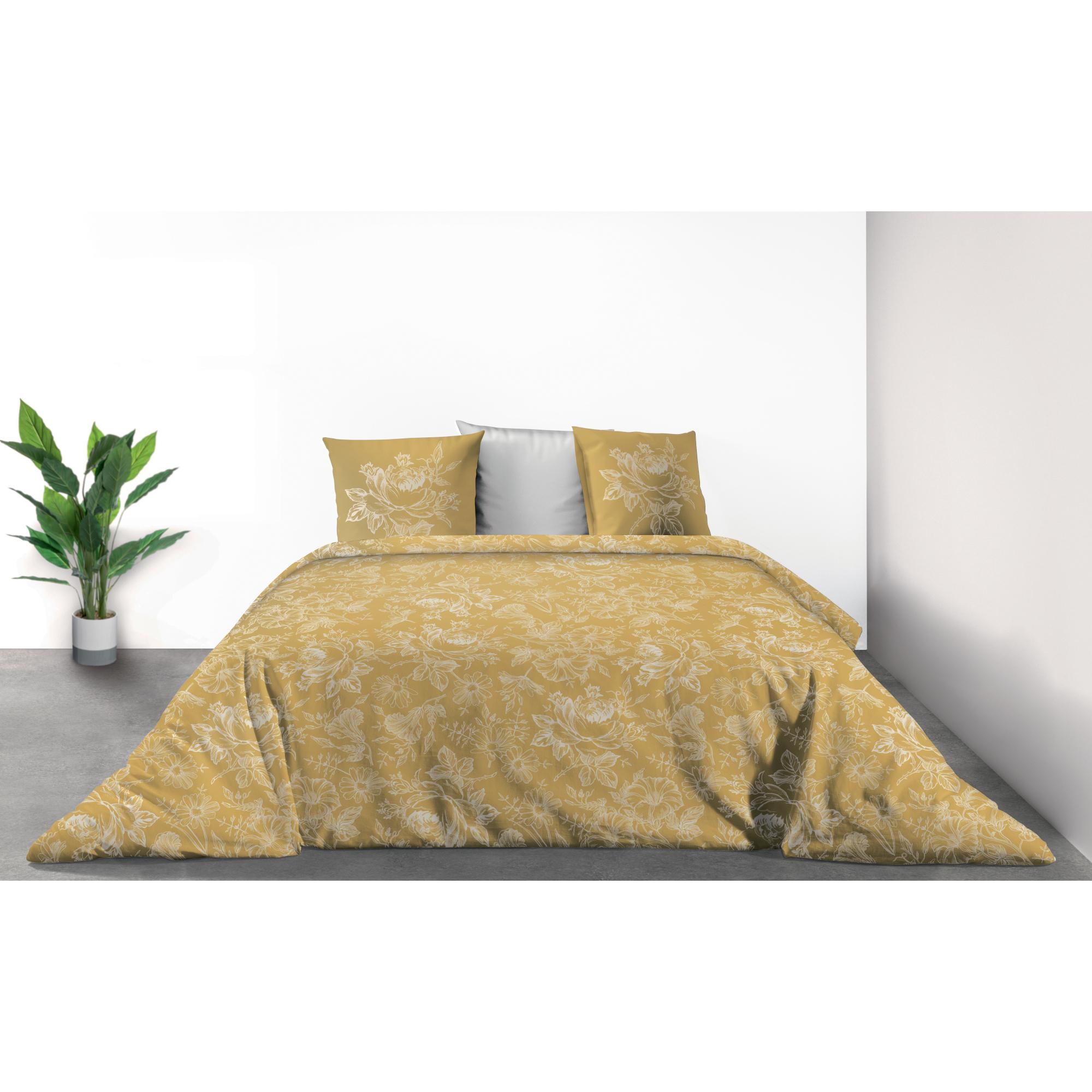 Parure de lit Bio 2 personnes Victoria Ocre avec housse de couette et taies d'oreiller Imprimé 200 x 200