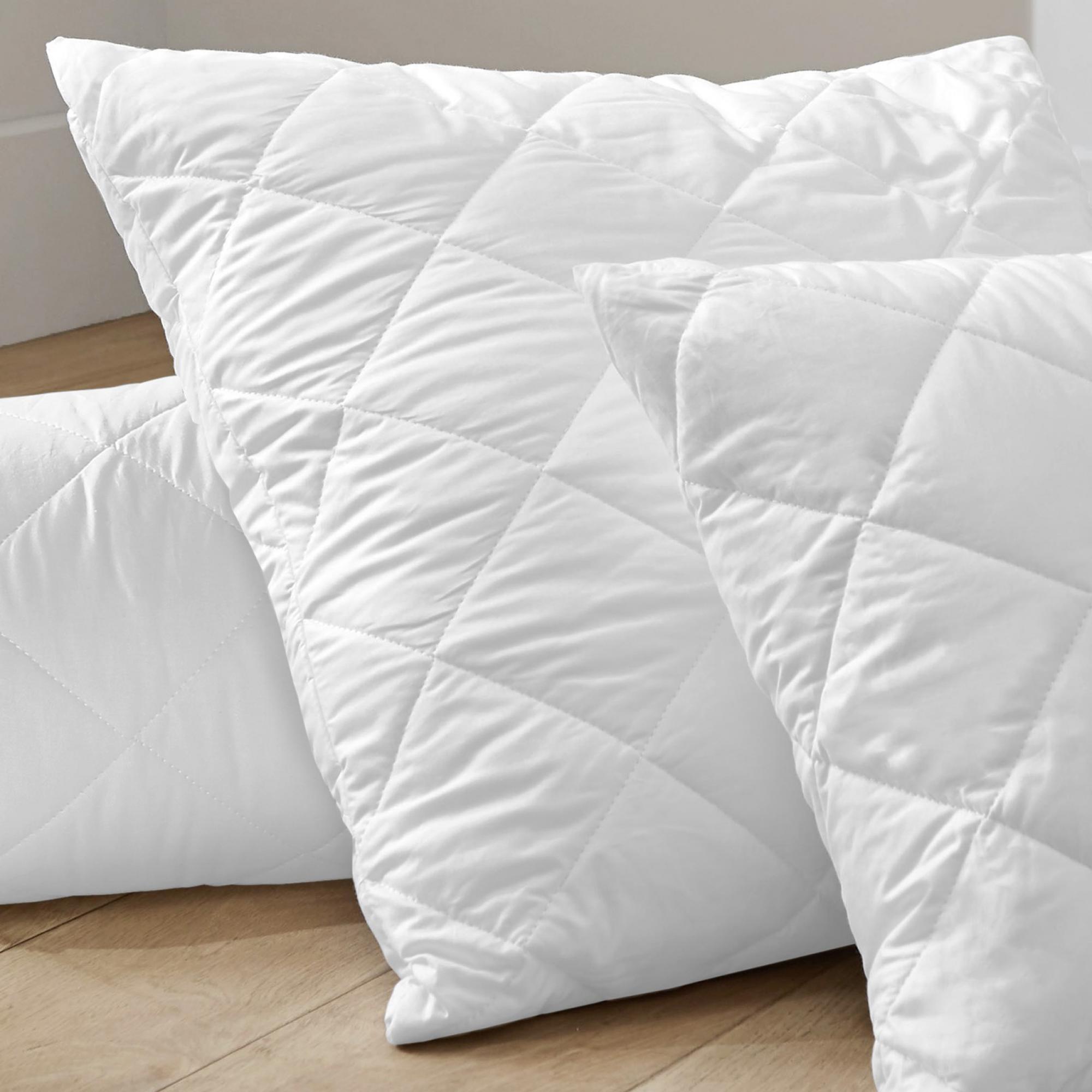 Lot 2 taies d'oreiller micro Quilte Blanc 65 x 65