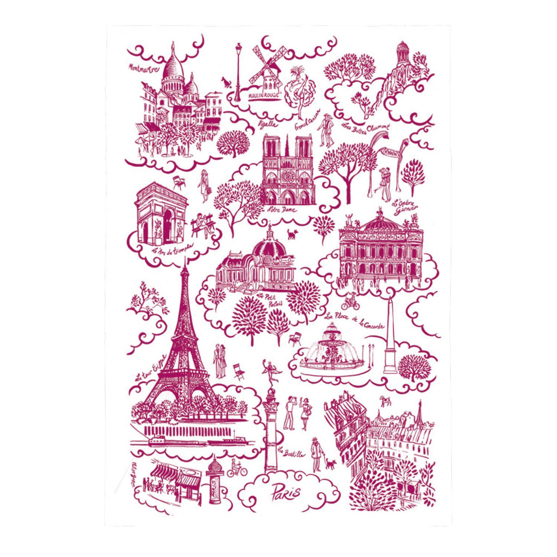 Torchon Paris Toile de Jouy Rouge