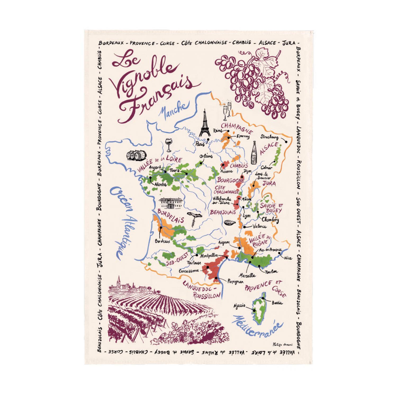 Torchon La Carte Des Vins de France Ecru