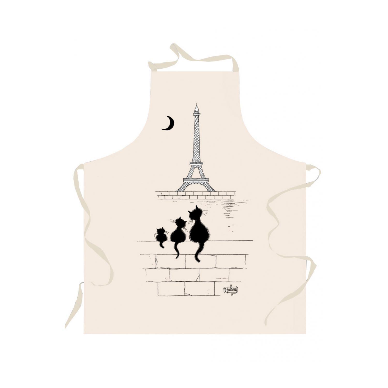 Tablier Chats Tour Eiffel Ecru